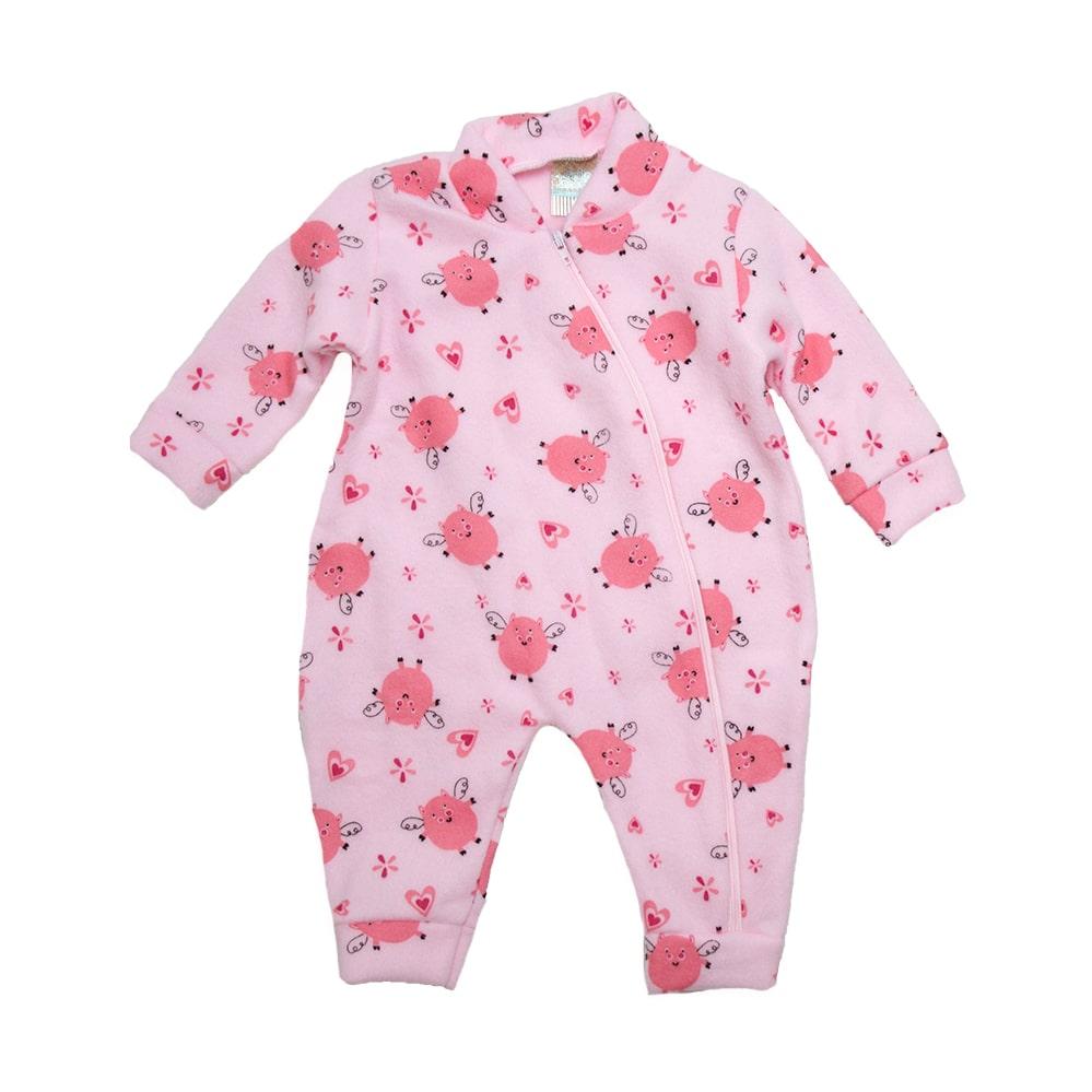 Macacão Bebê Soft Porquinha  Rosa  - Jeito Infantil
