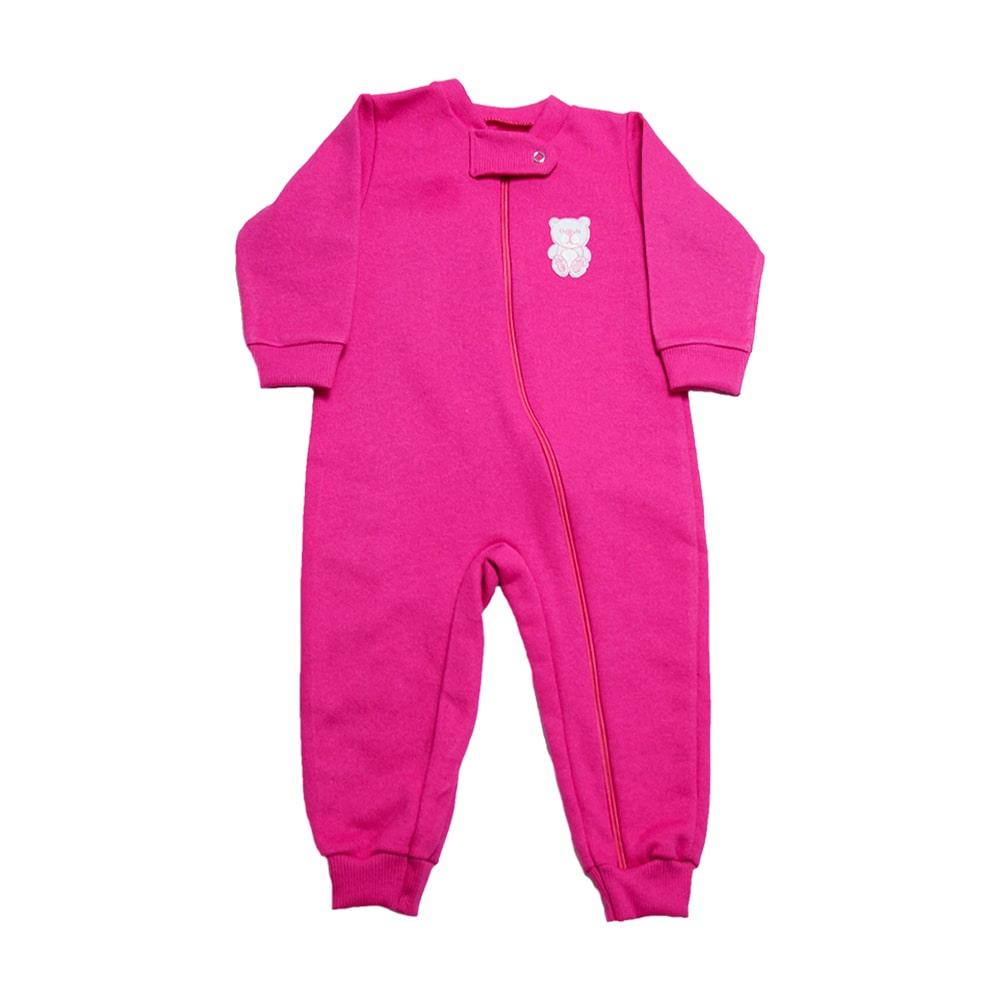 Macacão Bebê Ursinha Com Zíper Pink  - Jeito Infantil