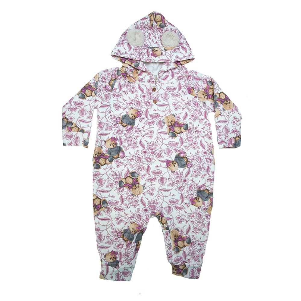 Macacão Bebê Ursinhos Com Orelhinhas Pérola  - Jeito Infantil
