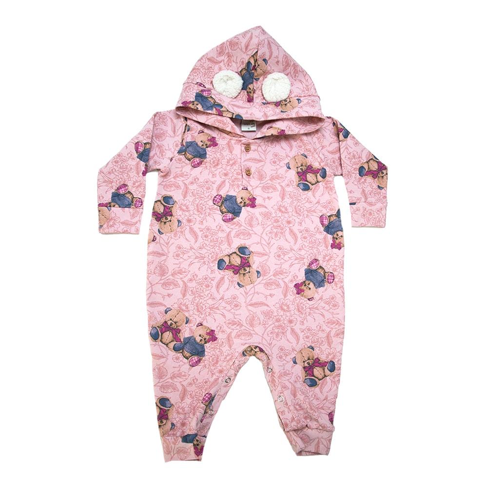 Macacão Bebê Ursinhos Com Orelhinhas Rosê  - Jeito Infantil