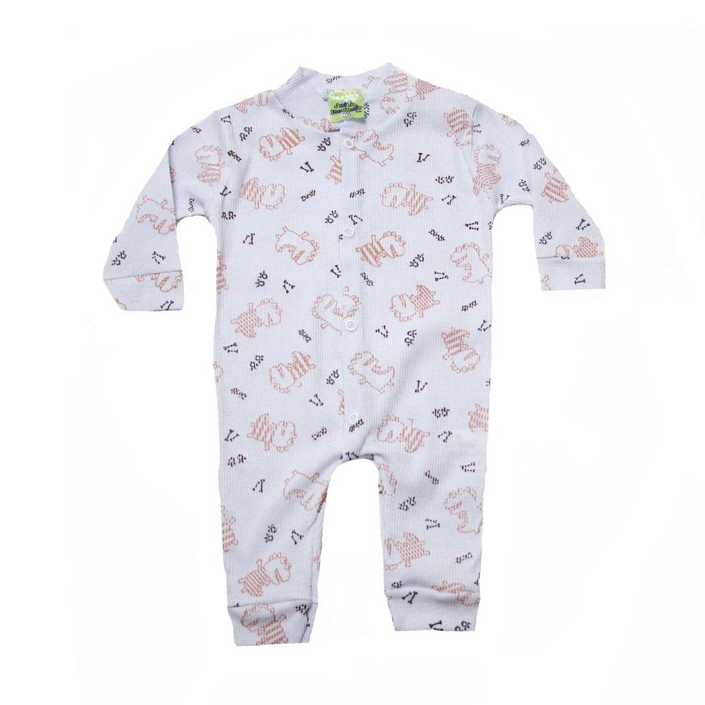 Macacão Canelado Bebê Dino Branco  - Jeito Infantil