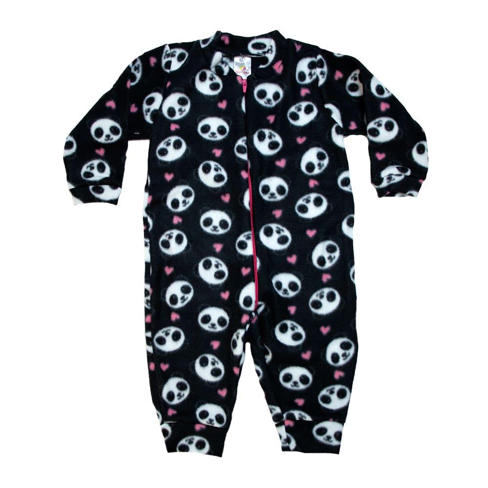 Macacão Infantil Pandas Preto  - Jeito Infantil