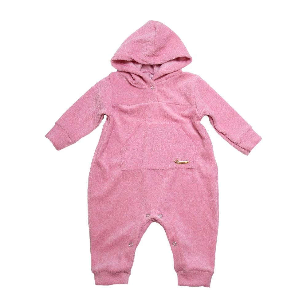 Macacão Longo Soft com Bolso Canguru Rosa  - Jeito Infantil