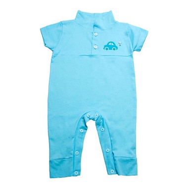Macaquinho Bebê Aplique  Azul   - Jeito Infantil