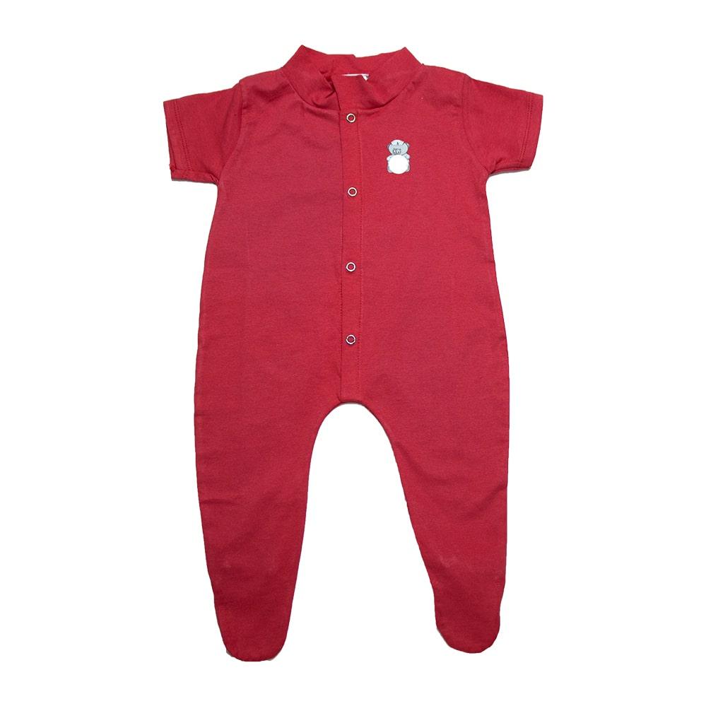Macaquinho Bebê Aplique Com Pézinho  Vermelho  - Jeito Infantil