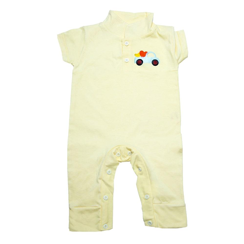 Macaquinho Bebê Com Aplique Amarelo  - Jeito Infantil