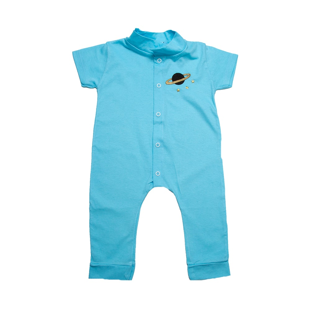 Macaquinho Bebê Com Aplique Azul  - Jeito Infantil