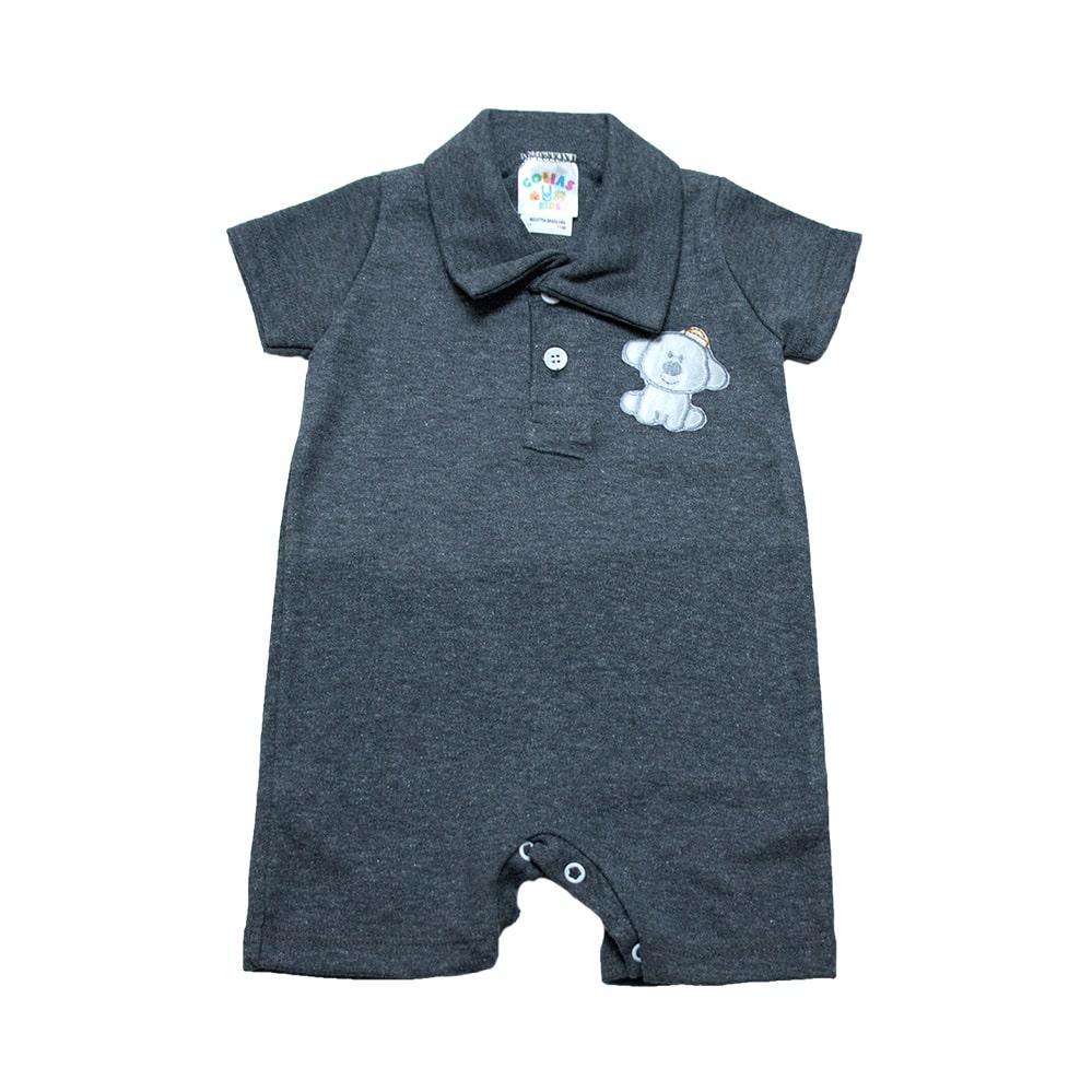 Macaquinho Bebê Com Aplique  Chumbo  - Jeito Infantil