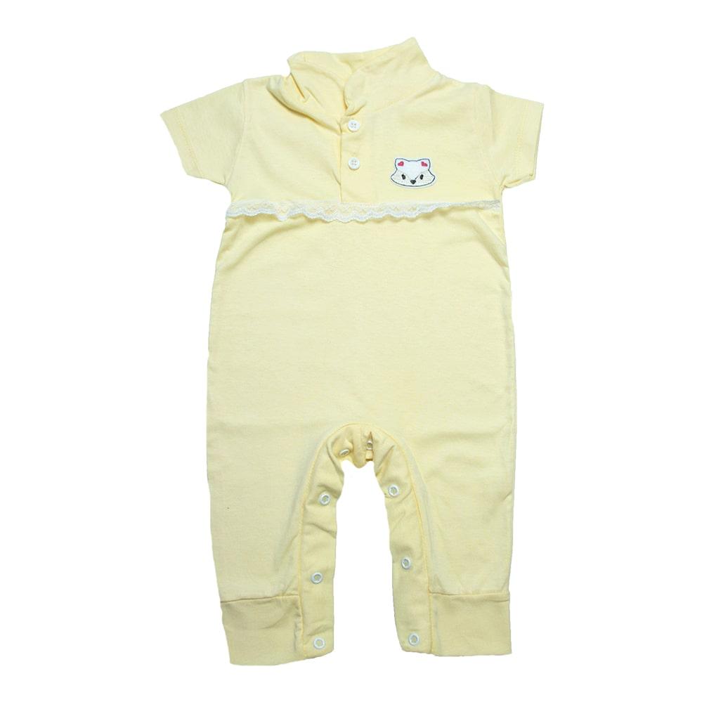 Macaquinho Bebê Com Aplique e Rendinha  Amarelo  - Jeito Infantil
