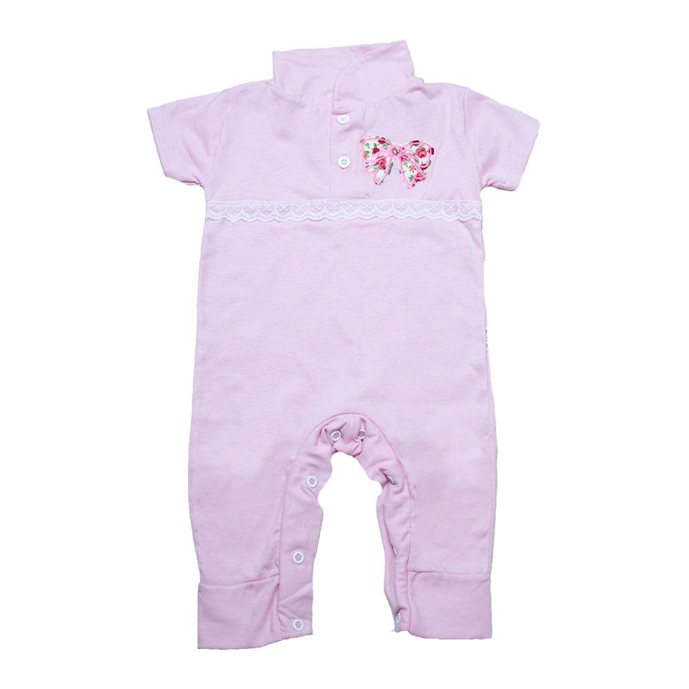 Macaquinho Bebê Com Aplique e Rendinha  Rosa  - Jeito Infantil