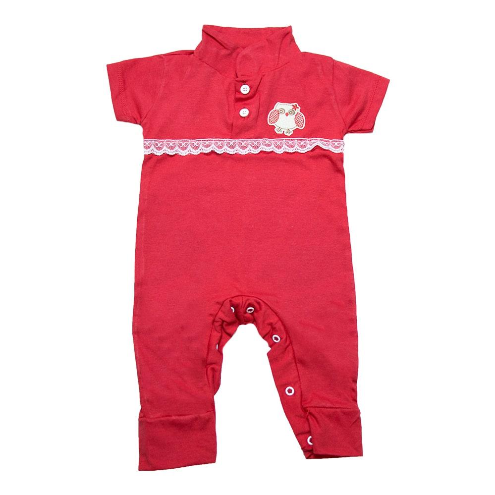 Macaquinho Bebê Com Aplique e Rendinha Vermelho  - Jeito Infantil