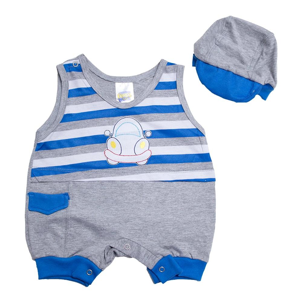 Macaquinho Bebê Com Boné Mescla  - Jeito Infantil