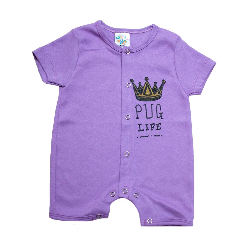 Macaquinho Bebê Coroa  Lilás  - Jeito Infantil