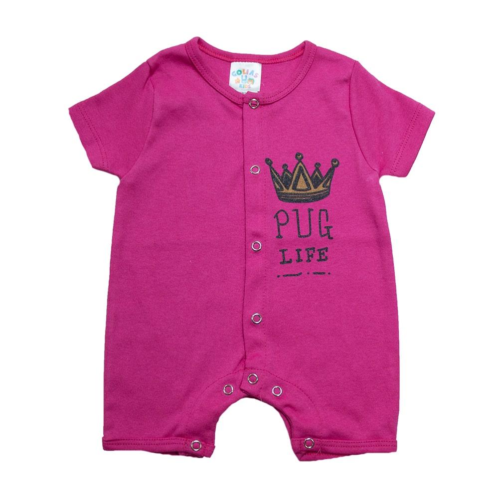 Macaquinho Bebê Coroa  Pink  - Jeito Infantil