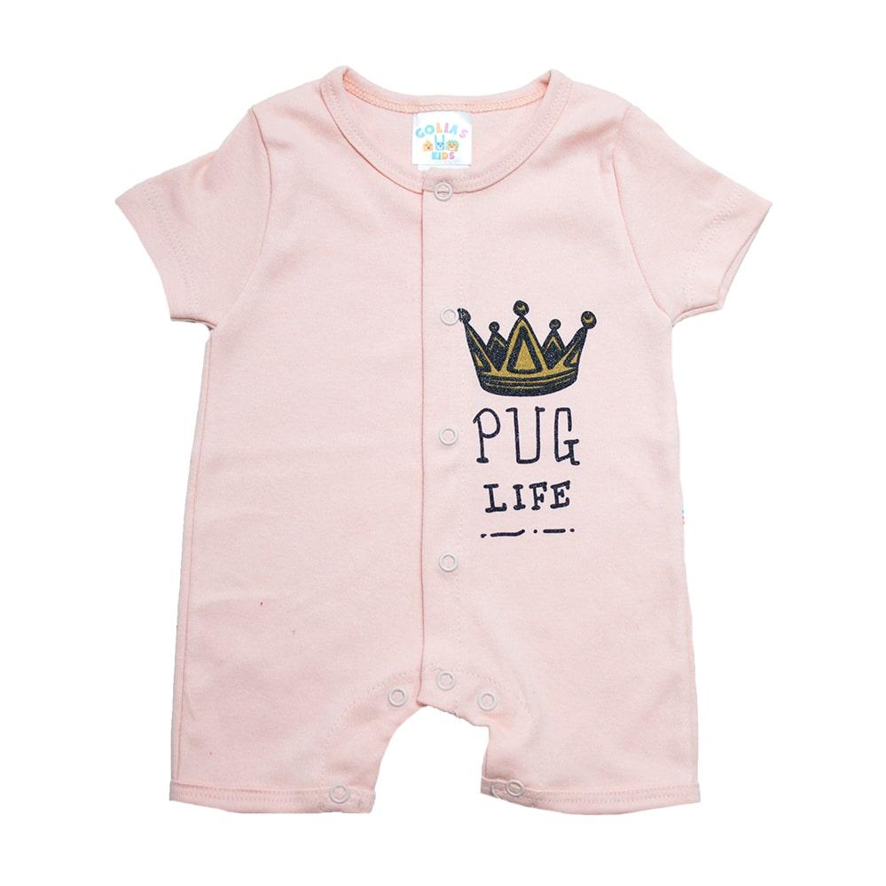 Macaquinho Bebê Coroa Salmão  - Jeito Infantil