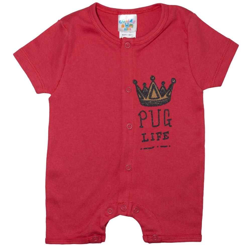 Macaquinho Bebê Coroa  Vermelho  - Jeito Infantil