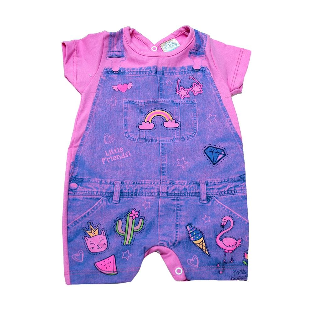 Macaquinho Bebê Cotton Jeans Rosa  - Jeito Infantil