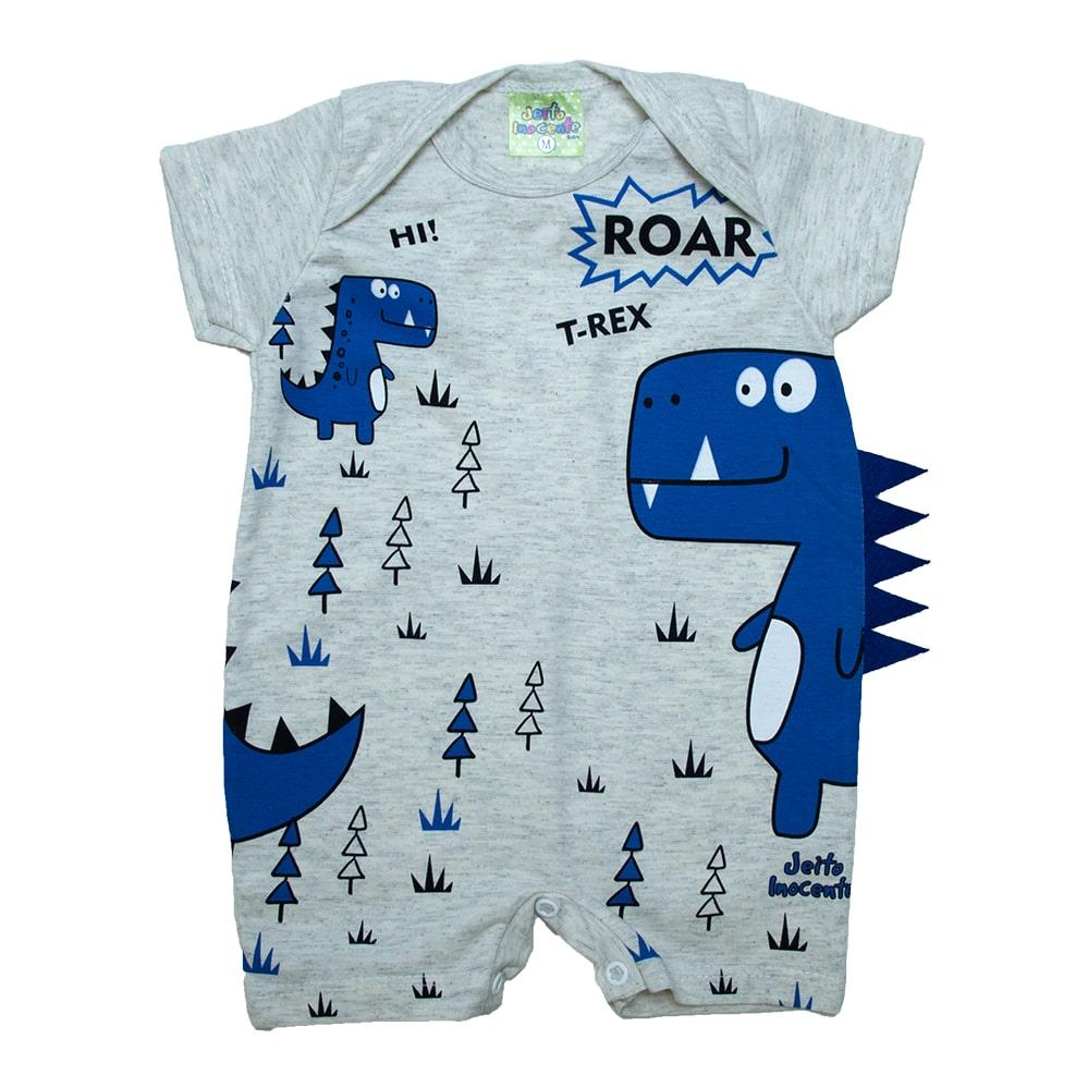 Macaquinho Bebê Dino Azul Mescla  - Jeito Infantil