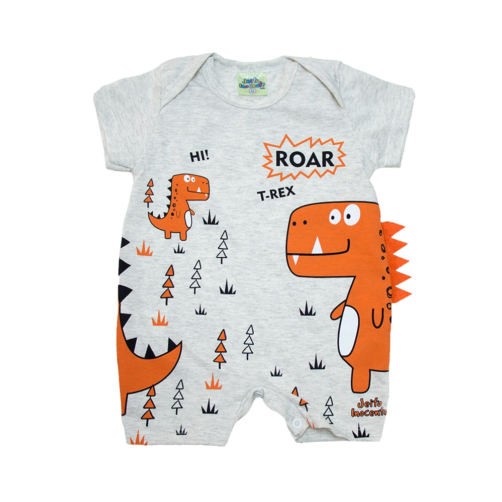 Macaquinho Bebê Dino Laranja Mescla  - Jeito Infantil