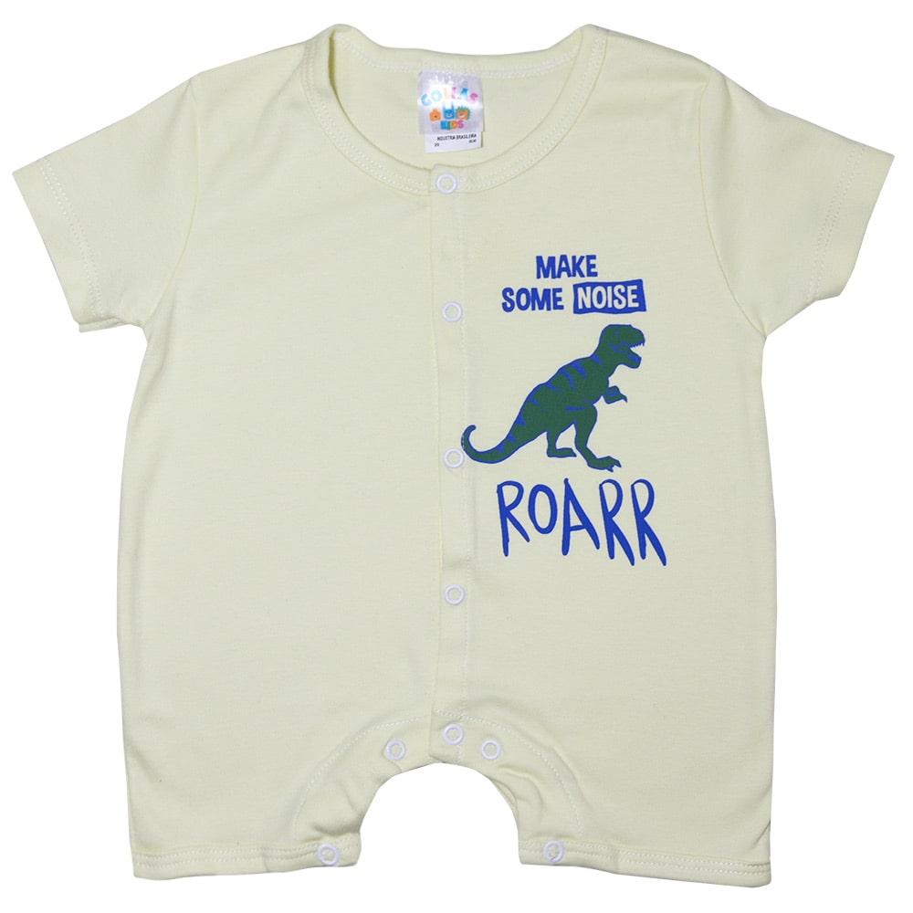 Macaquinho Bebê Dino Rex  Amarelo  - Jeito Infantil