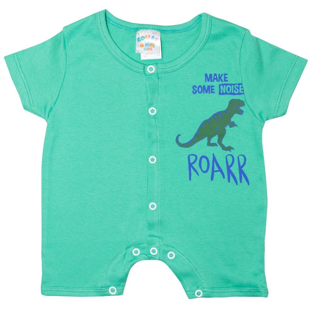 Macaquinho Bebê Dino Rex  Verde  - Jeito Infantil