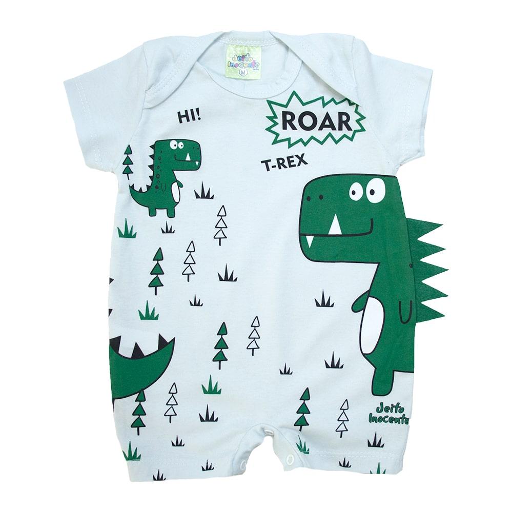 Macaquinho Bebê Dino Verde Mescla  - Jeito Infantil
