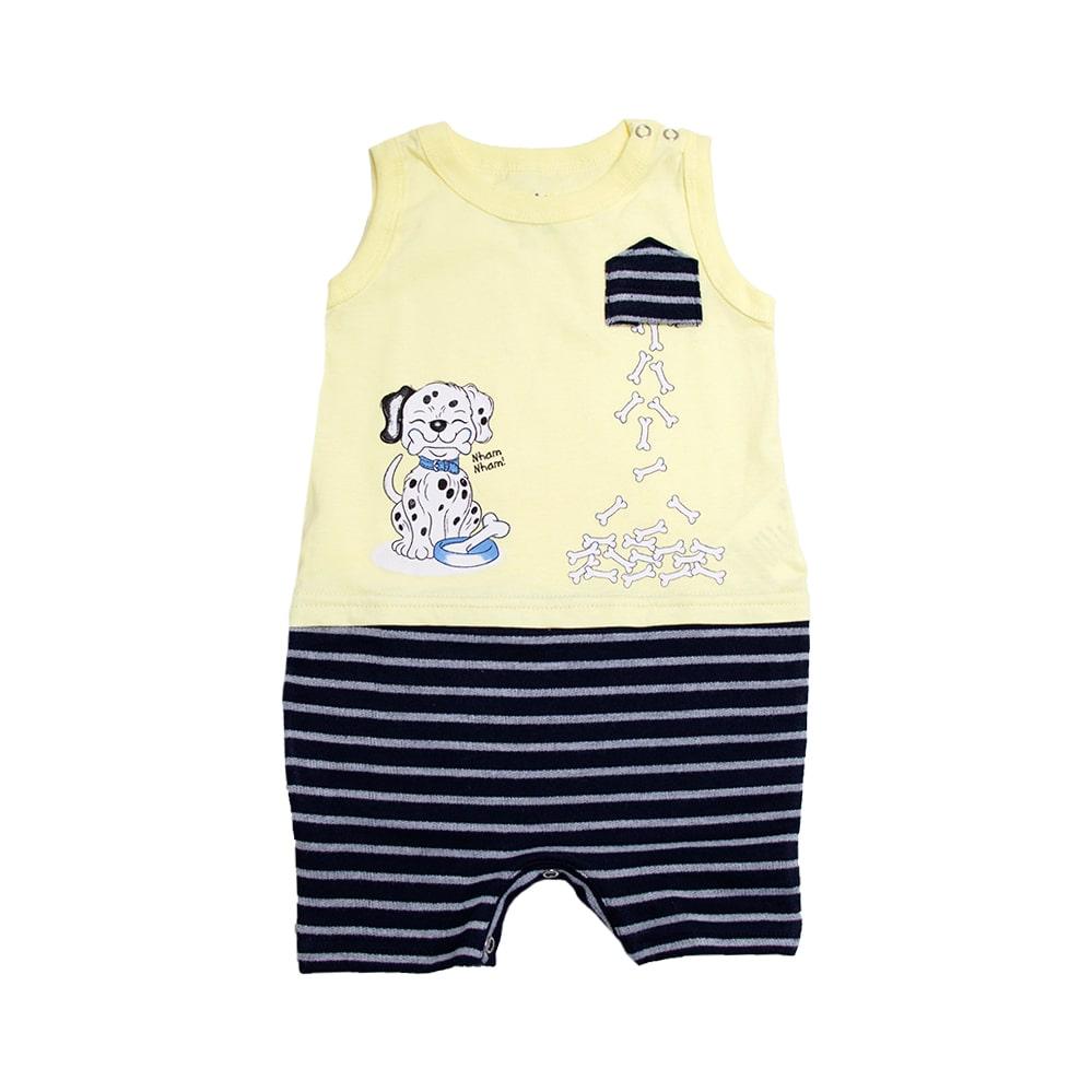 Macaquinho Bebê Dog Amarelo  - Jeito Infantil