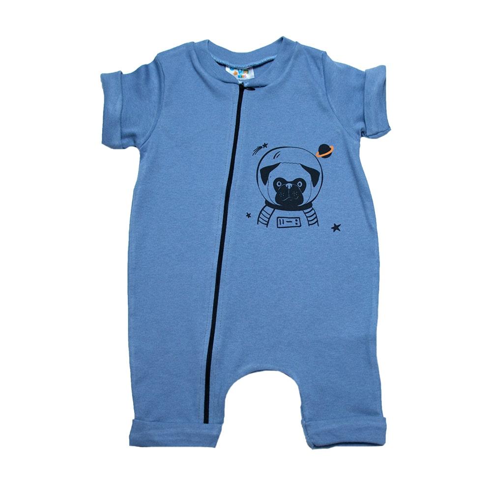 Macaquinho Bebê Dog Astronauta  Azul  - Jeito Infantil