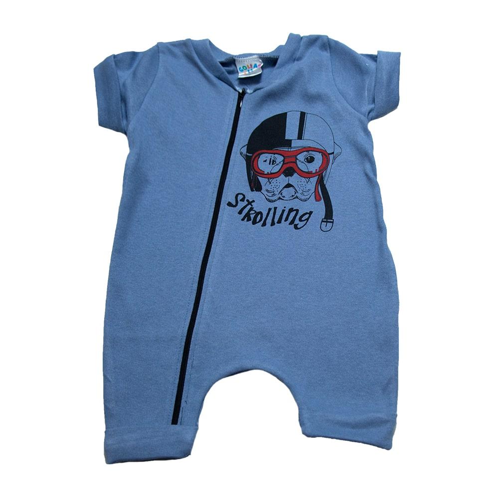 Macaquinho Bebê Dog  Azul  - Jeito Infantil