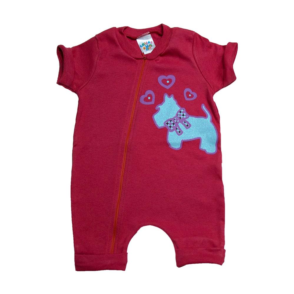 Macaquinho Bebê Dog  Vermelho  - Jeito Infantil