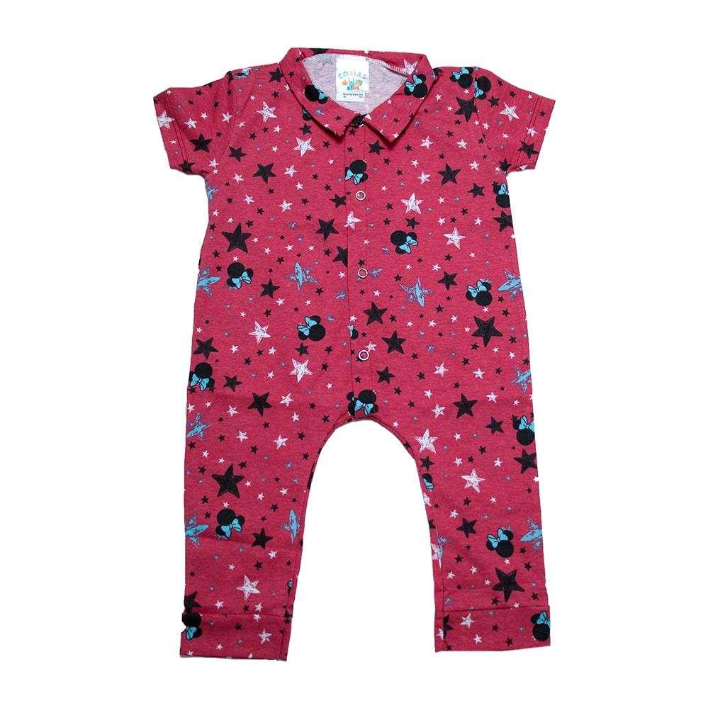 Macaquinho Bebê Estrelas  Coral  - Jeito Infantil