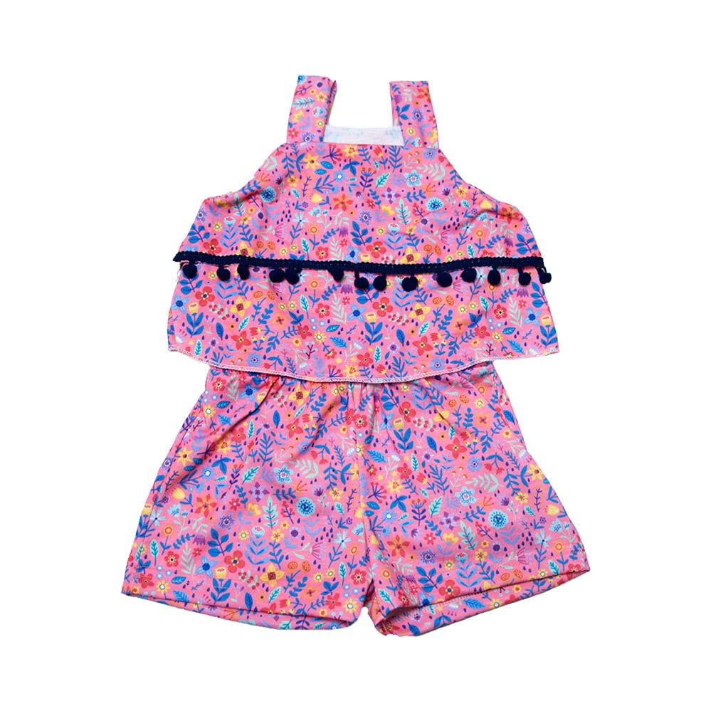 Macaquinho Bebê Floral  Rosa  - Jeito Infantil