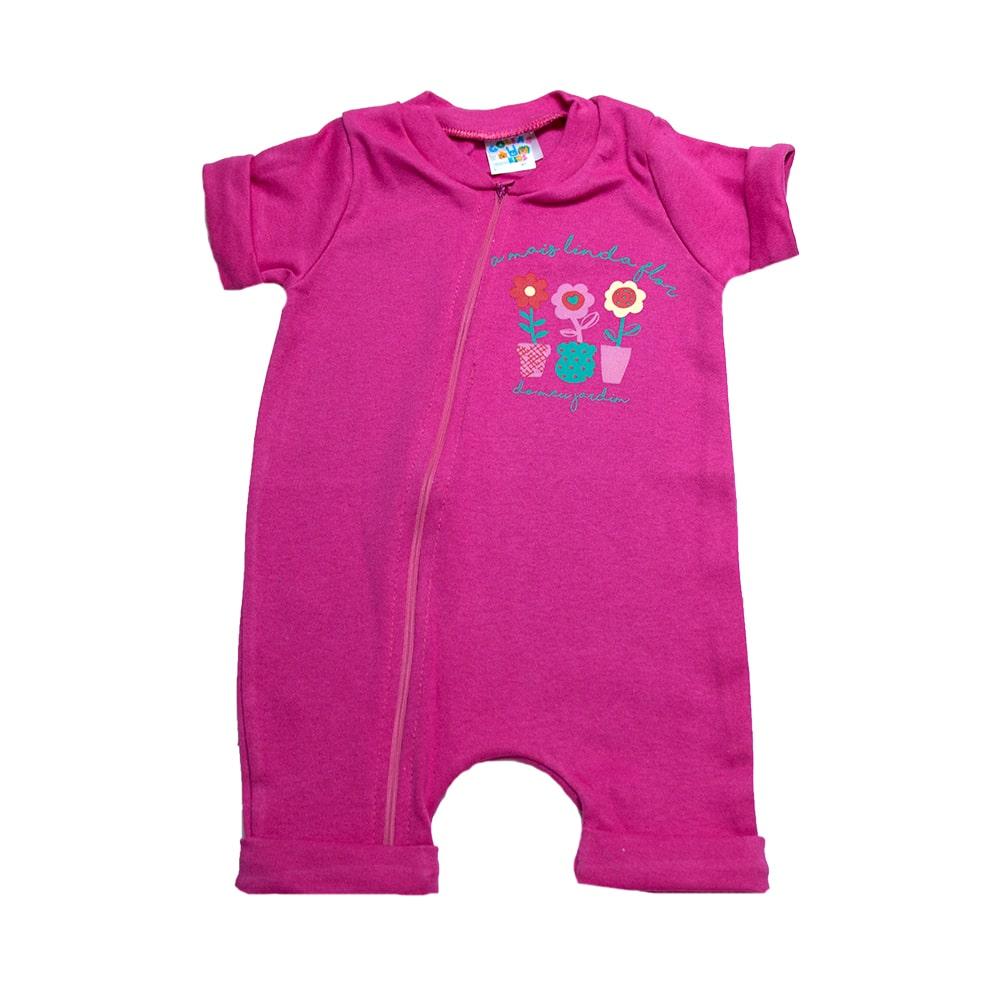Macaquinho Bebê Florzinhas Pink  - Jeito Infantil