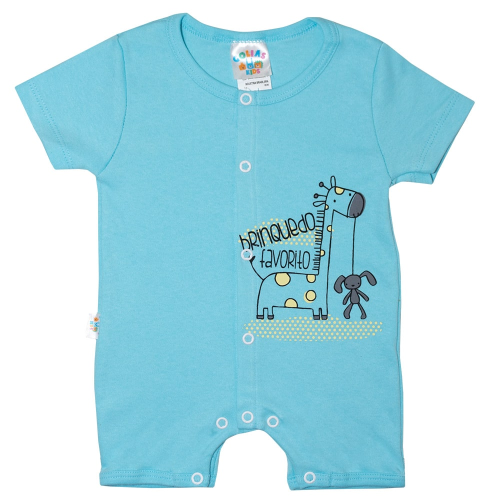 Macaquinho Bebê Girafa  Azul  - Jeito Infantil