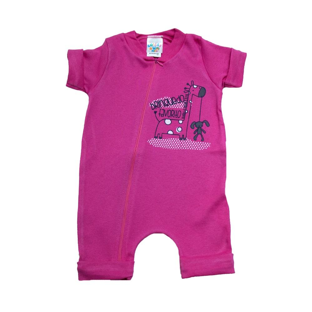 Macaquinho Bebê Girafa  Pink  - Jeito Infantil