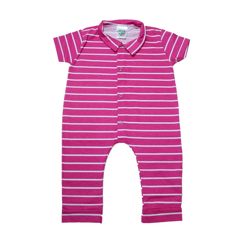 Macaquinho Bebê Listras Pink Com Branco  - Jeito Infantil