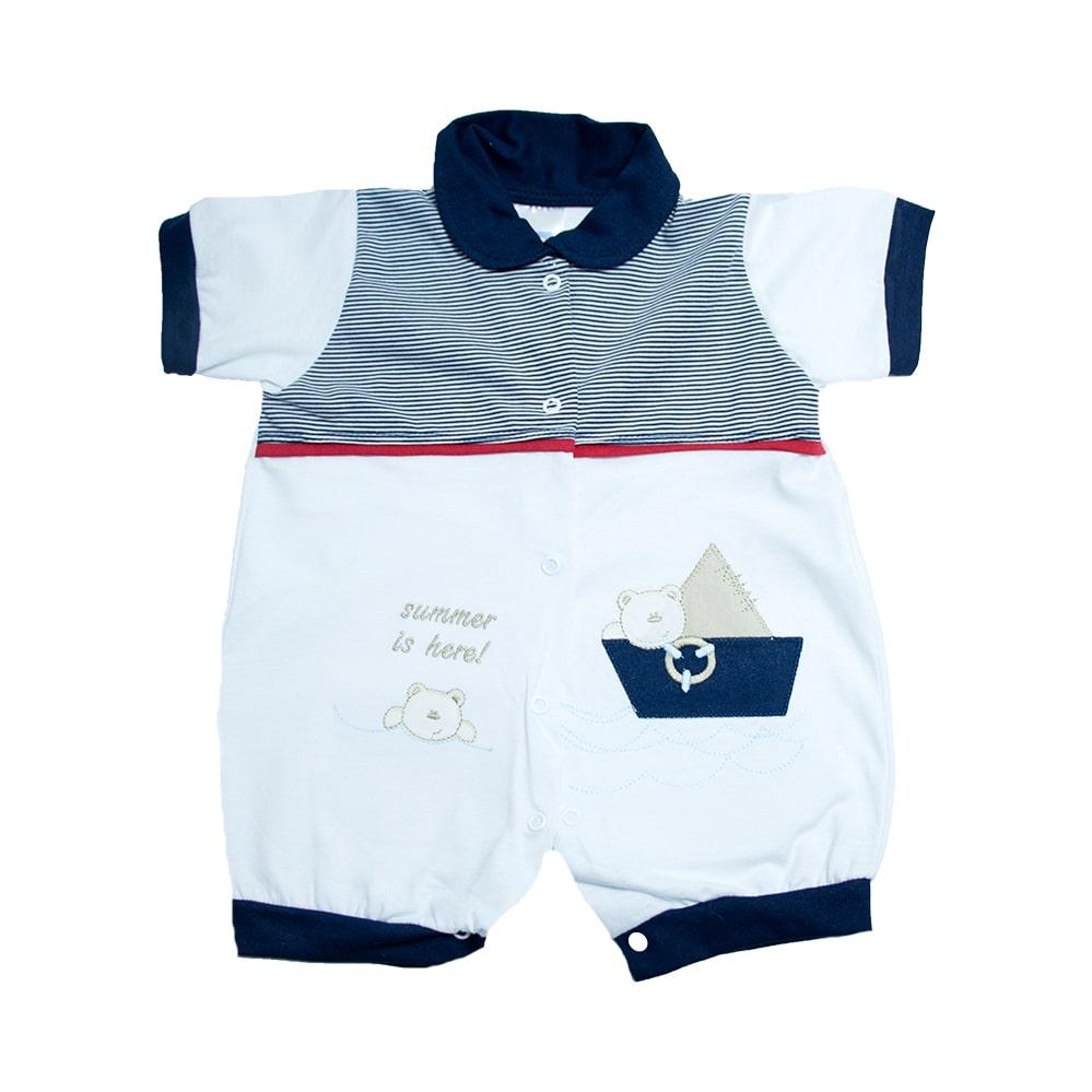 Macaquinho Bebê Marinheiro Branco  - Jeito Infantil