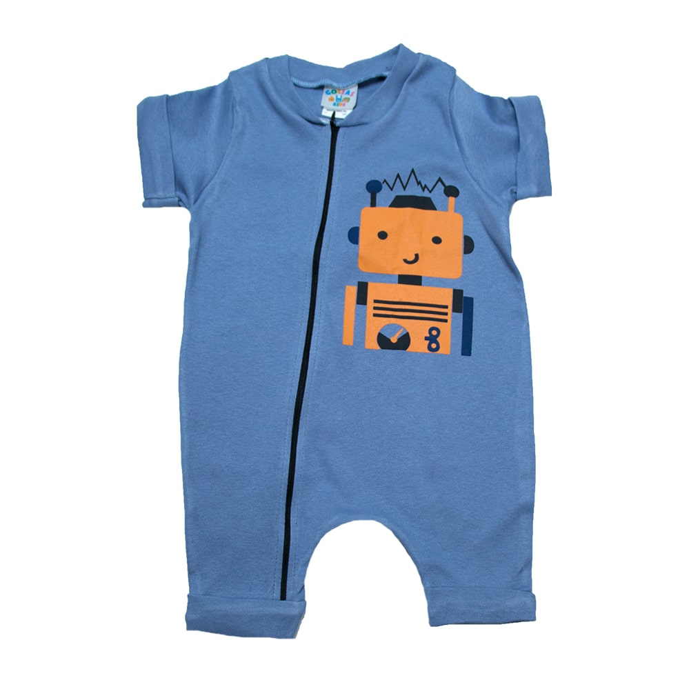 Macaquinho Bebê Robô Azul  - Jeito Infantil