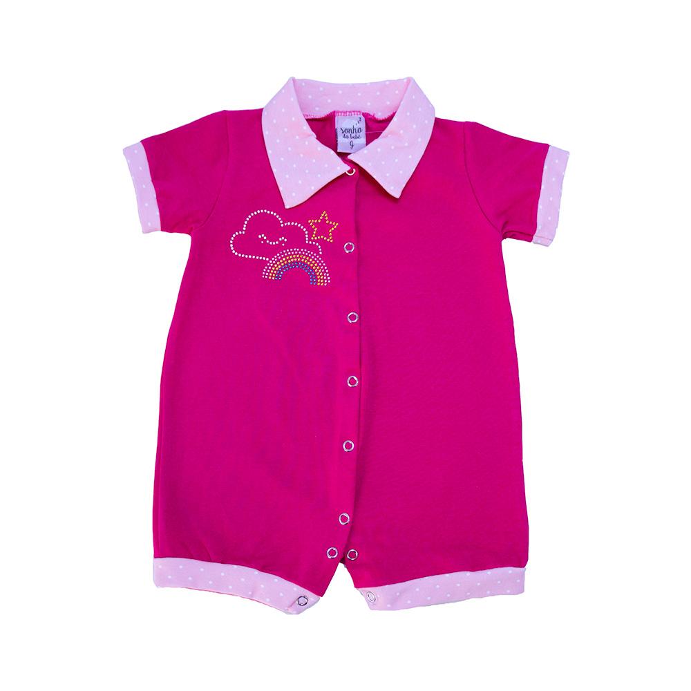 Macaquinho Bebê Strass Pink  - Jeito Infantil