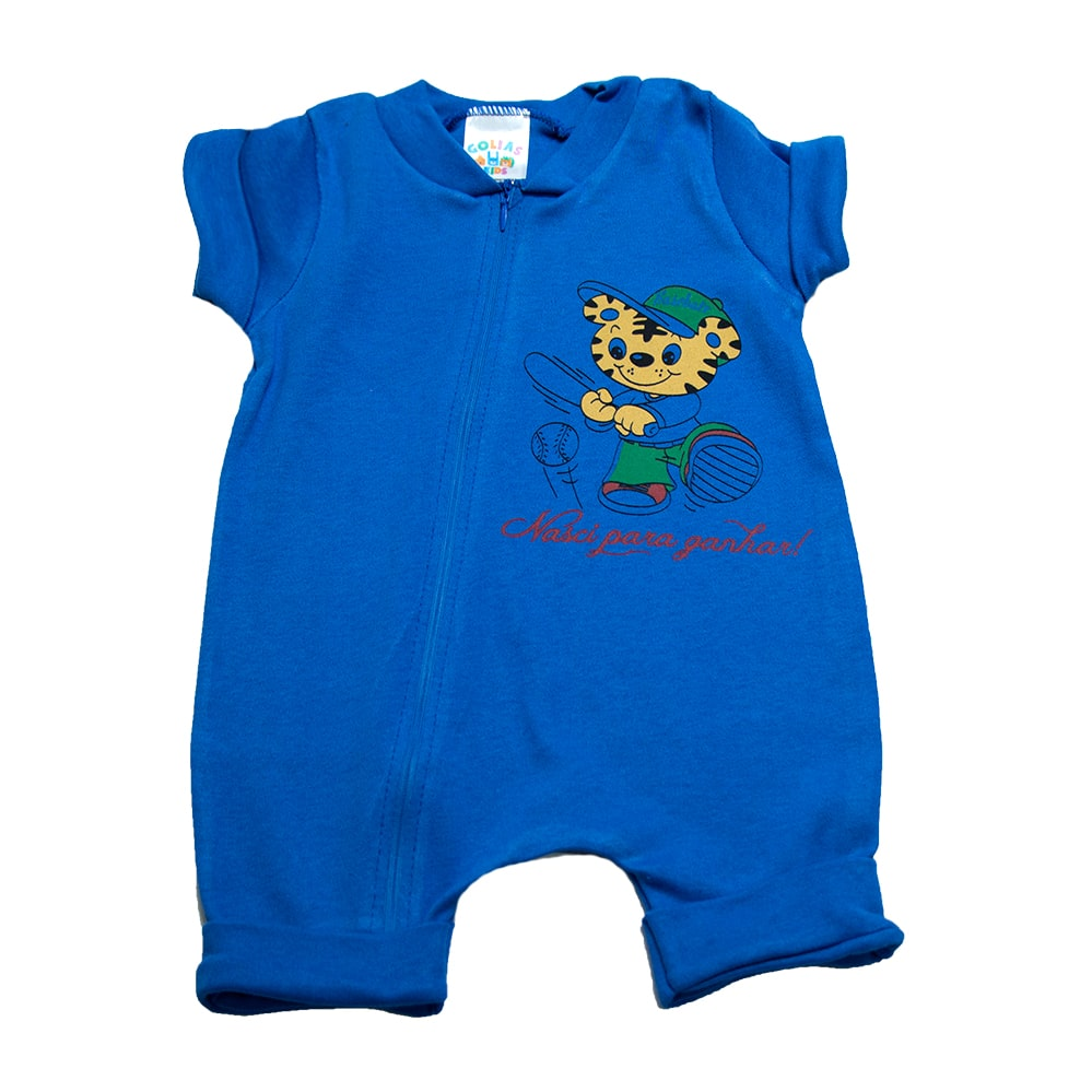 Macaquinho Bebê Tigre  Azul Royal  - Jeito Infantil