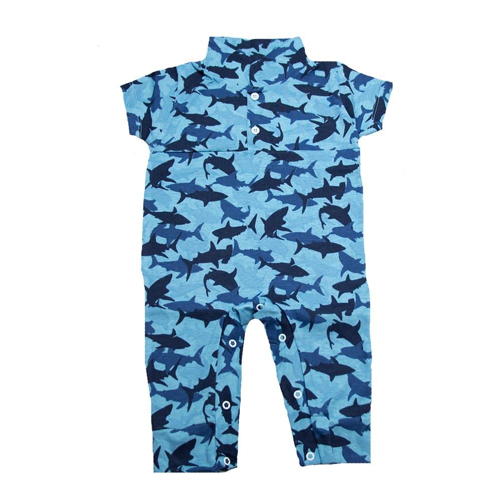 Macaquinho Bebê Tubarão Azul  - Jeito Infantil