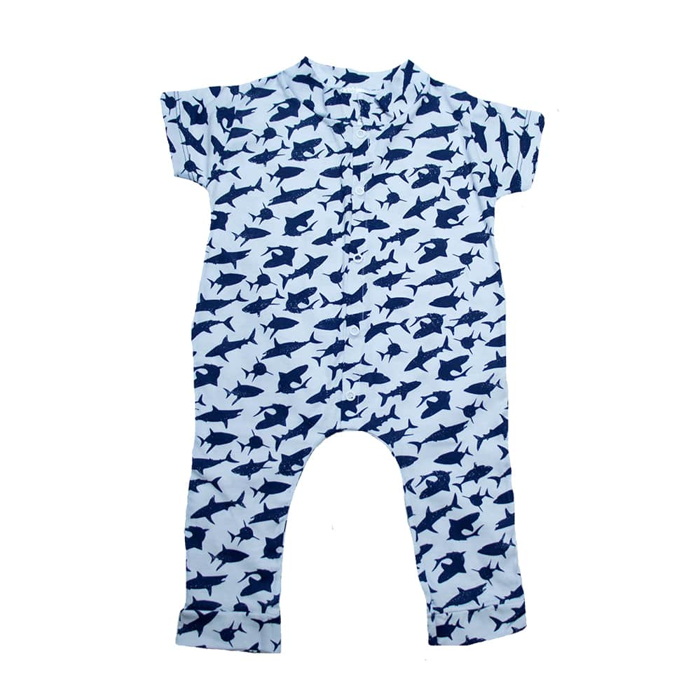 Macaquinho Bebê Tubarão Branco  - Jeito Infantil