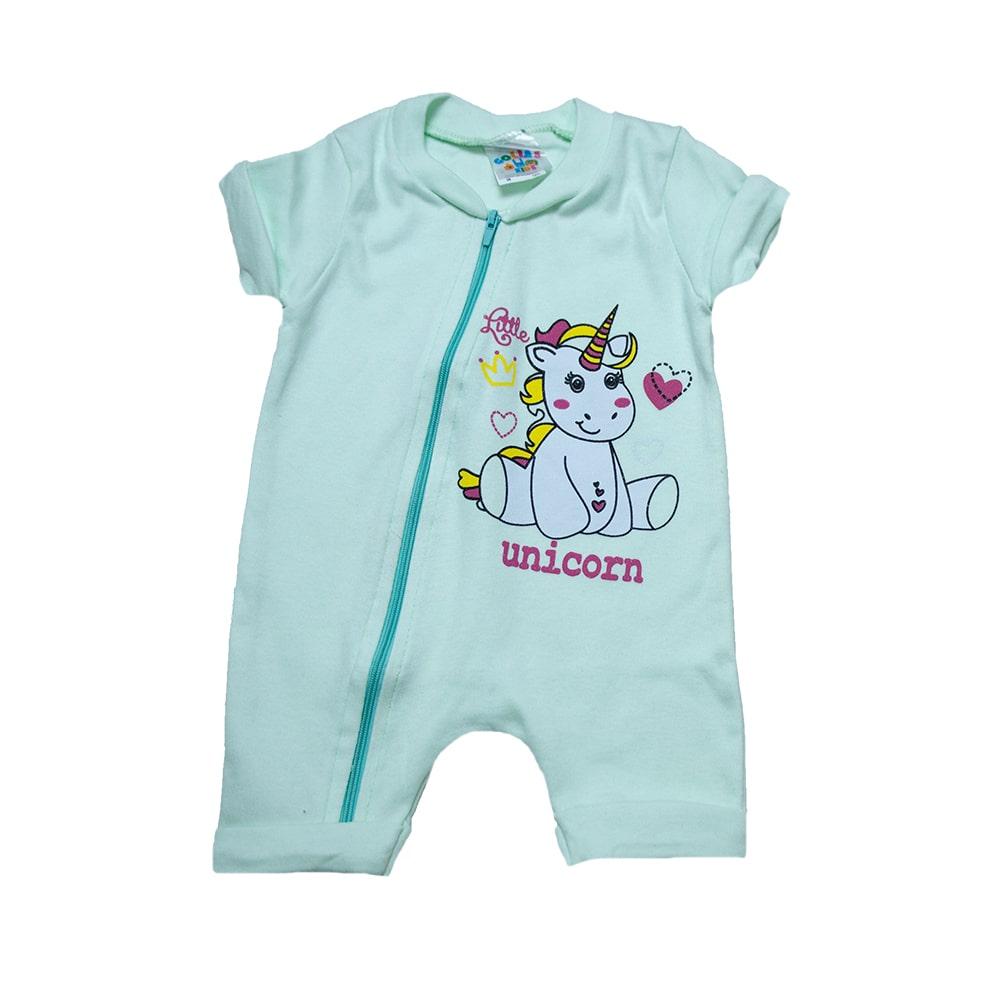 Macaquinho Bebê Unicórnio Verde  - Jeito Infantil