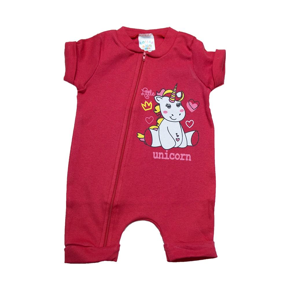 Macaquinho Bebê Unicórnio Vermelho  - Jeito Infantil