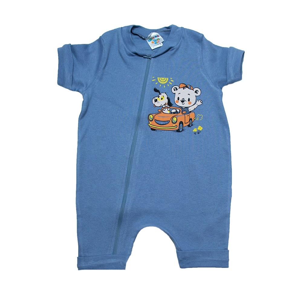 Macaquinho Bebê Ursinho  Azul  - Jeito Infantil