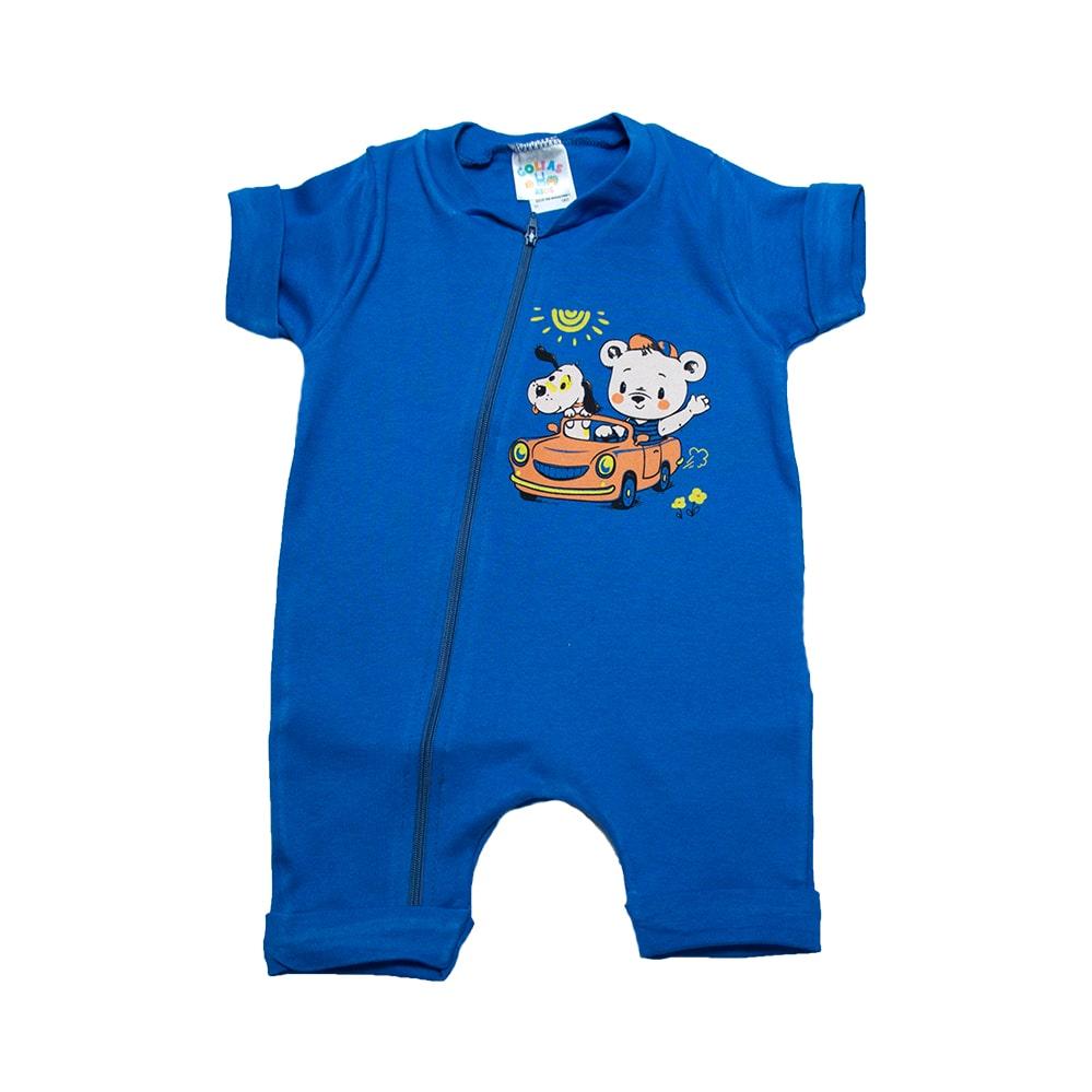 Macaquinho Bebê Ursinho Azul Royal  - Jeito Infantil