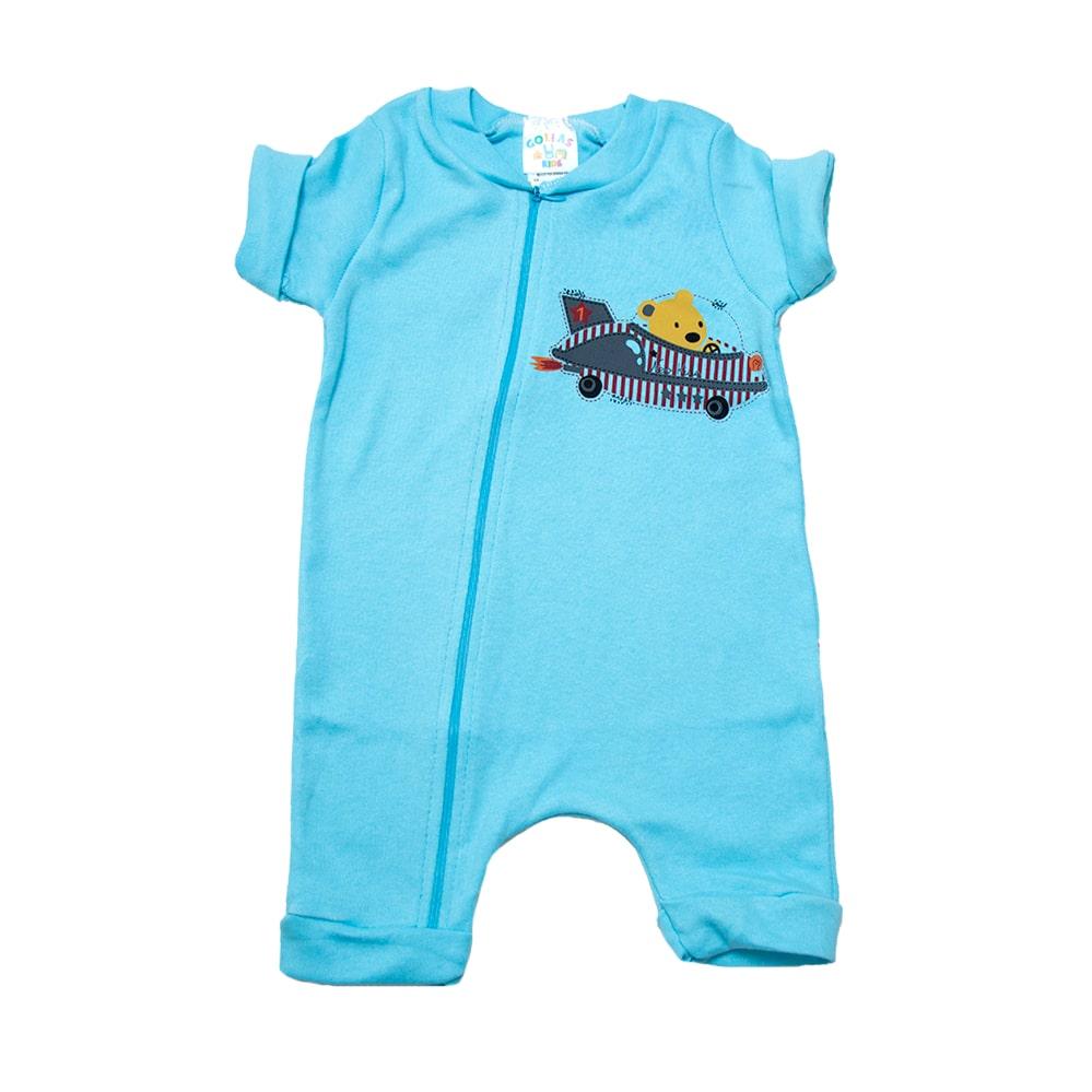Macaquinho Bebê Urso Aviador Azul  - Jeito Infantil