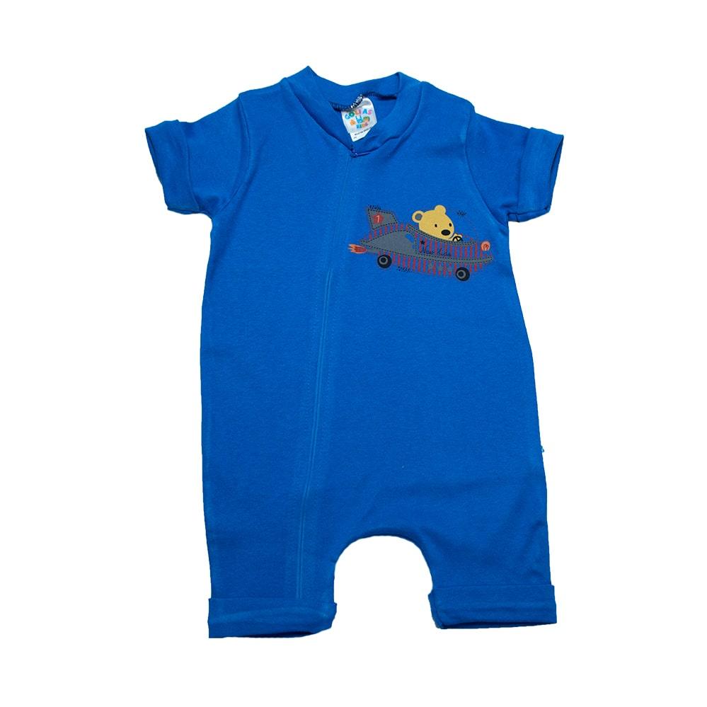 Macaquinho Bebê Urso Aviador Azul Royal  - Jeito Infantil