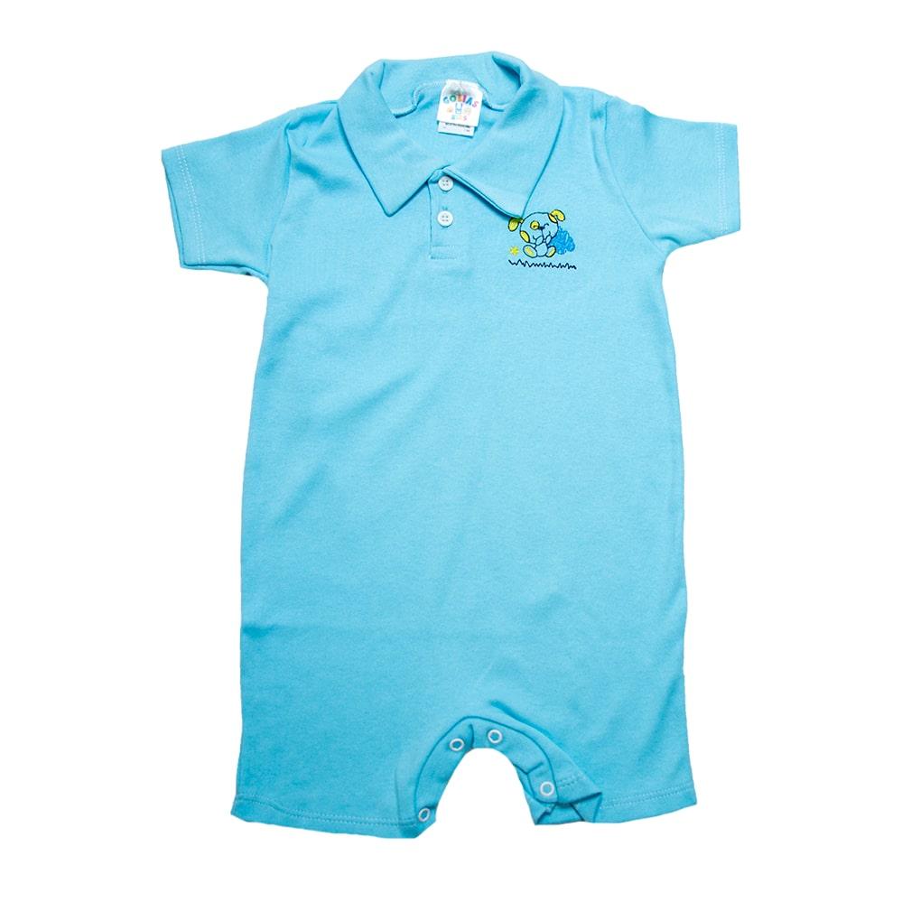 Macaquinho Infantil Com Aplique Azul  - Jeito Infantil