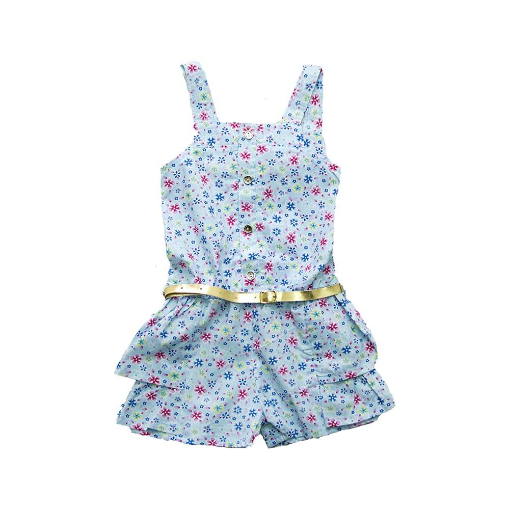 Macaquinho Infantil Floral Azul  - Jeito Infantil
